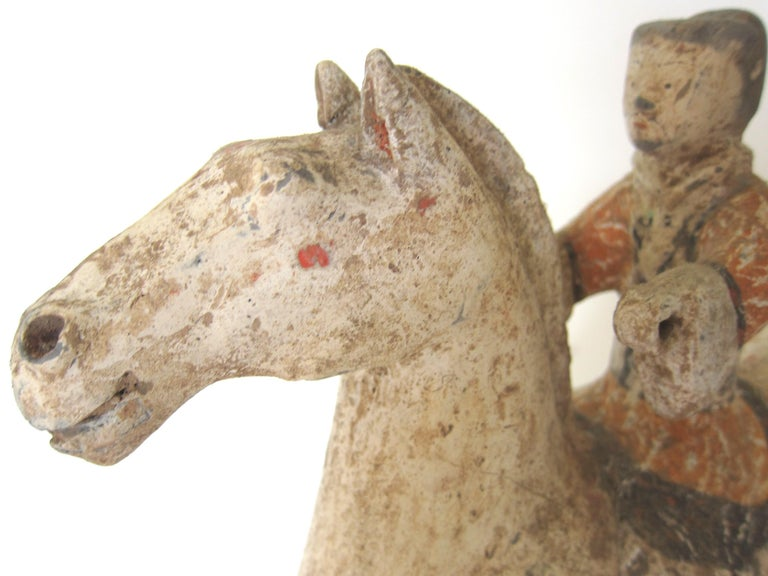 Earthenware Han Dynasty Horse and Rider For Sale