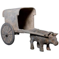 Han Dynasty Terracotta Sculpture of an Ox pulling a Cart, China '206BC - 220AD'