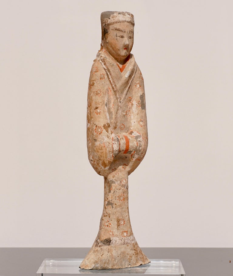 Fired Han Dynasty TL Tested Terra-cotta  Court Lady Statue (206BC - 220AD) For Sale