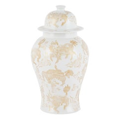 Han Pot with Lid Handcrafted Porcelain Hand Painted White Gold