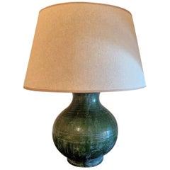 Han Style Green Glazed Tablelamp Vase