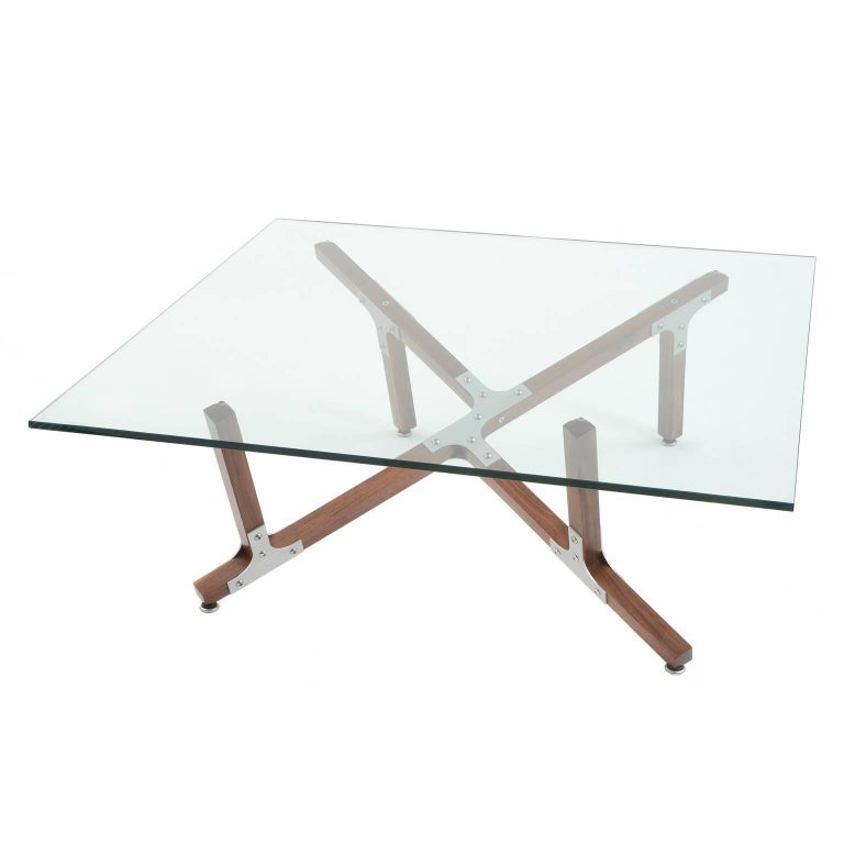 Modern Industrial Coffee Table with Square Glass Top Metal and Walnut Wood For Sale