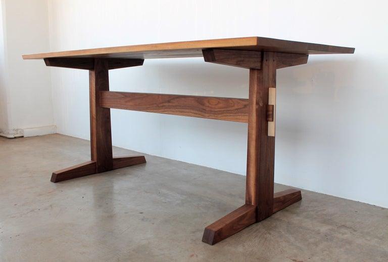 Shaker Hana Trestle Dining Table in Walnut in Stock For Sale