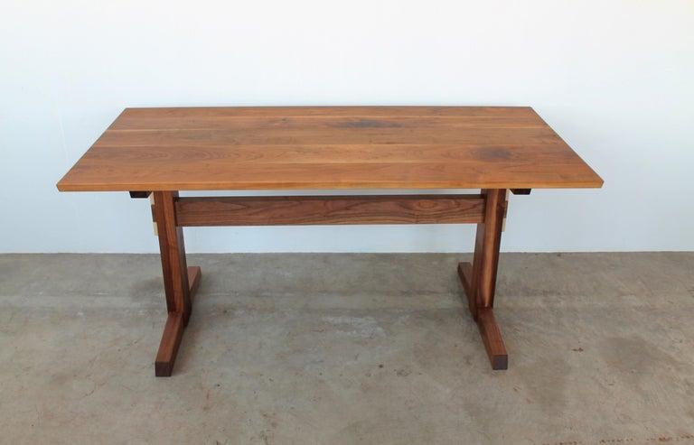 American Hana Trestle Dining Table in Walnut in Stock For Sale