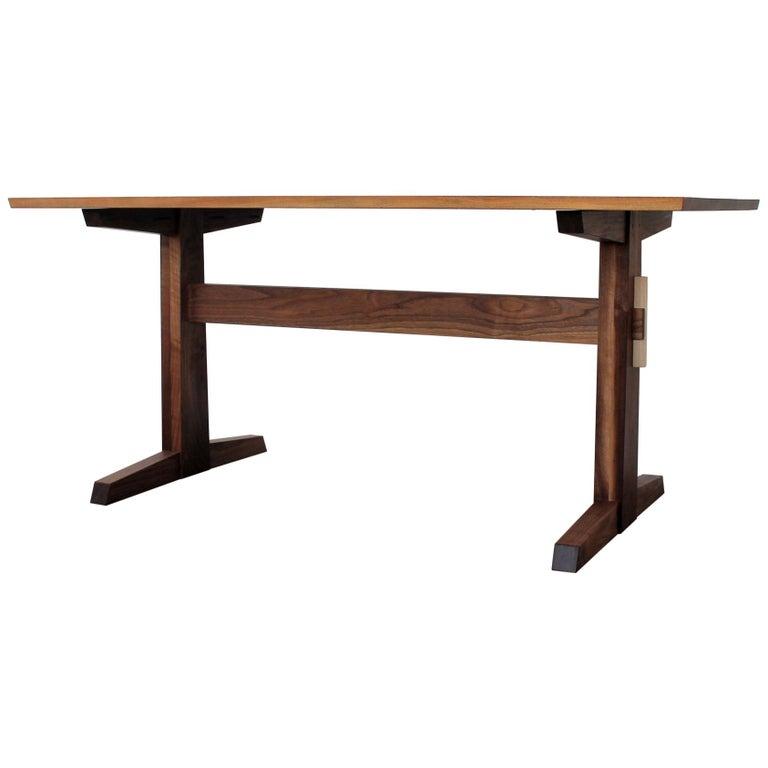 Hana Trestle Dining Table in Walnut in Stock For Sale
