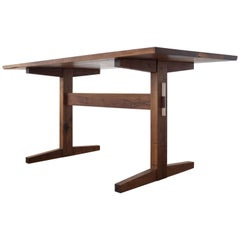 Hana Walnut Trestle Table in Stock