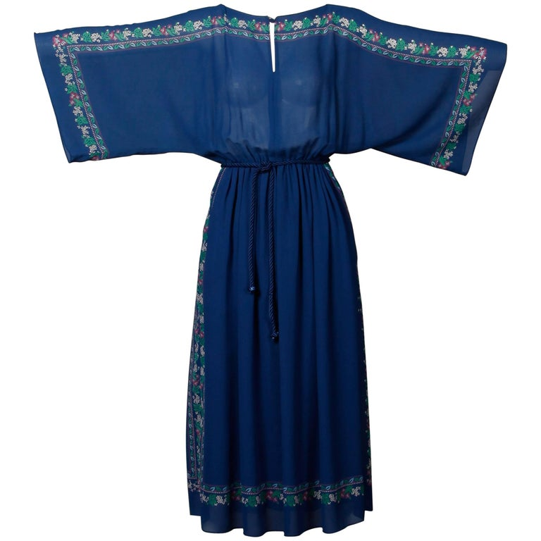 Hanae Mori 1970s Vintage Blue Floral Print Midi Dress with Kimono Angel Sleeves In Excellent Condition For Sale In Sparks, NV