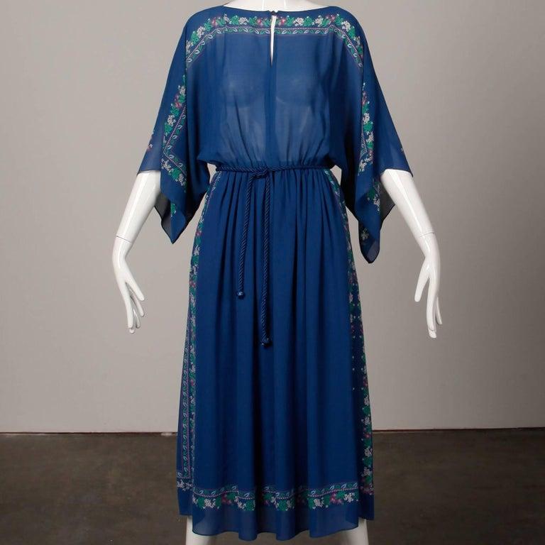 Women's Hanae Mori 1970s Vintage Blue Floral Print Midi Dress with Kimono Angel Sleeves For Sale