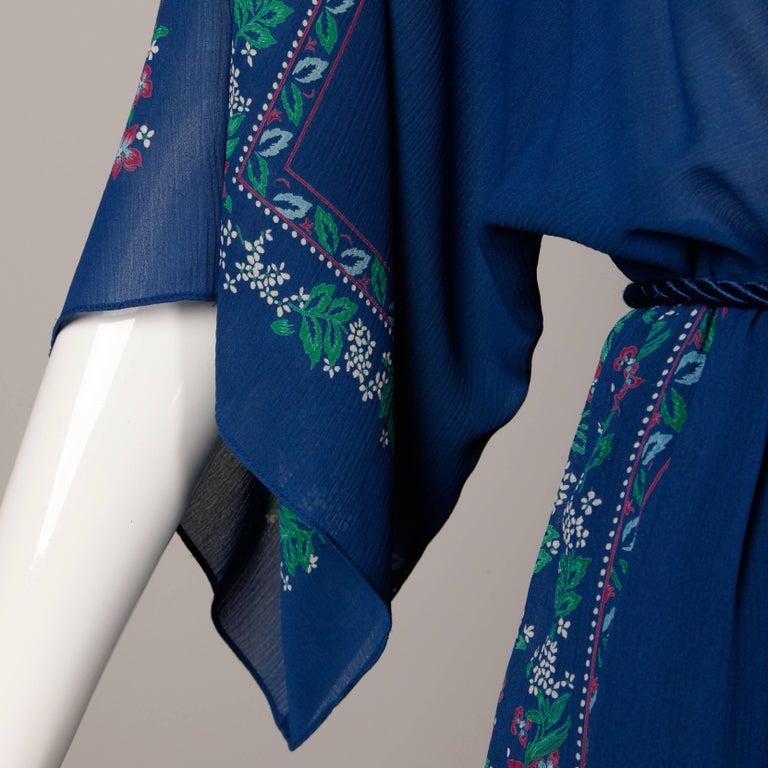 Hanae Mori 1970s Vintage Blue Floral Print Midi Dress with Kimono Angel Sleeves For Sale 1