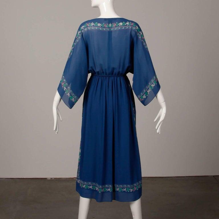 Hanae Mori 1970s Vintage Blue Floral Print Midi Dress with Kimono Angel Sleeves For Sale 2