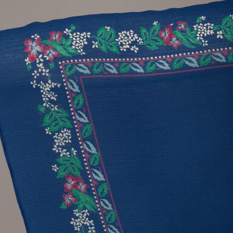 Hanae Mori 1970s Vintage Blue Floral Print Midi Dress with Kimono Angel Sleeves For Sale 3