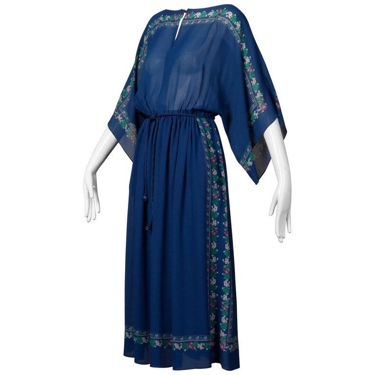 Hanae Mori 1970s Vintage Blue Floral Print Midi Dress with Kimono Angel Sleeves For Sale
