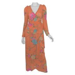 Hanae Mori 1970's Vintage Floral Printed Wrap Dress