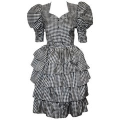 Hanae Mori Black & White Ruffled Tier Cocktail Dress
