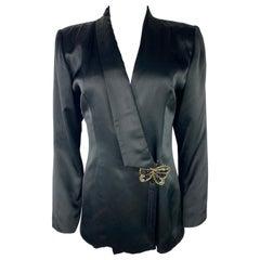 Hanae Mori Boutique Black Silk Blazer Jacket, Size Small