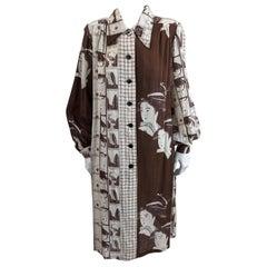 Hanae Mori Cotton Gauze Geisha Print Dress