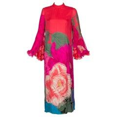 Hanae Mori Couture Bright Floral Silk Museum Held Dress, 1960s
