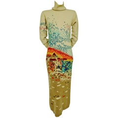 Hanae Mori Couture Cashmere Intarsia Japanese Pagoda Knit Dress