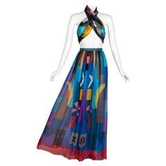 Hanae Mori Couture Silk Printed Maxi Skirt & Shawl Set, 1980s