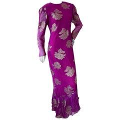 Hanae Mori Deep Pink Silk Chiffon Gold Chrysanthemum Pattern Dress