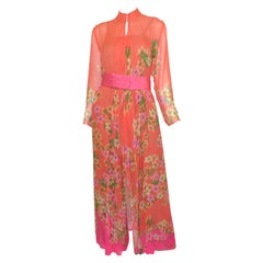 Hanae Mori Floral Print Silk Chiffon Oriental 4-Piece Ensemble
