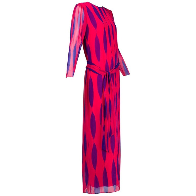 Hanae Mori Fuchsia and Purple Pop Art Column Gown - Medium, 1980s For Sale