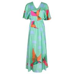 Hanae Mori Green Flutter Sleeve Maxi Dress w/Exotic Bird Print