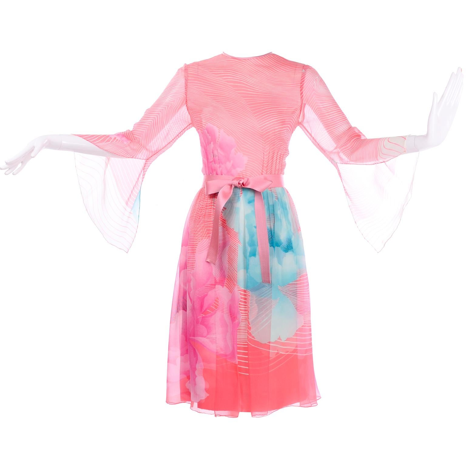 Hanae Mori Japan Vintage Orange Pink & Blue Silk Chiffon Dress Bergdorf Goodman