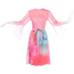 Hanae Mori Japan Vintage Orange Pink & Blue Silk Chiffon Dress Bergdorf Goodman