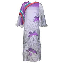 Hanae Mori Lavender Angel Sleeve Dress, 1970s