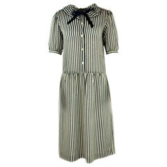 HANAE MORI Navy and White Striped Short Sleeve Midi Dress w/ Bow Size US 8