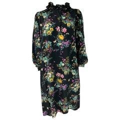 Hanae Mori Paris Black and Multi Colored Silk Mini Dress, Size Small