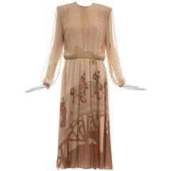 Hanae Mori Printed Geisha Silk Chiffon Dress, Circa: 1970's