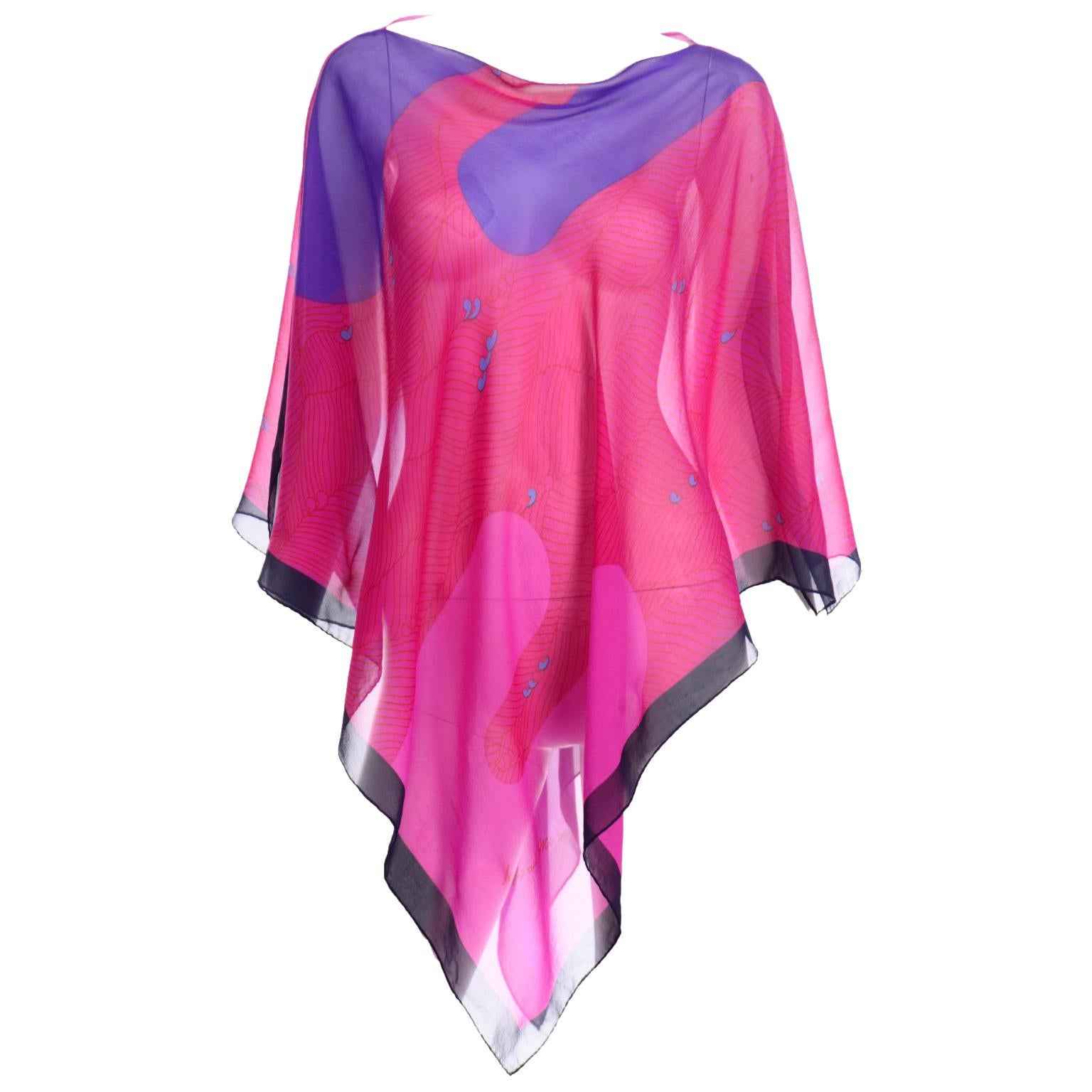 Hanae Mori Vintage Pink & Purple Silk Signed Print Poncho Style Top