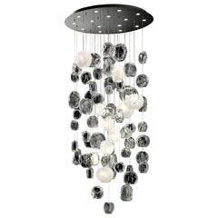 Hanami 7298 Ceiling Lamp in Glass and Polished Chrome, by Barovier&Toso