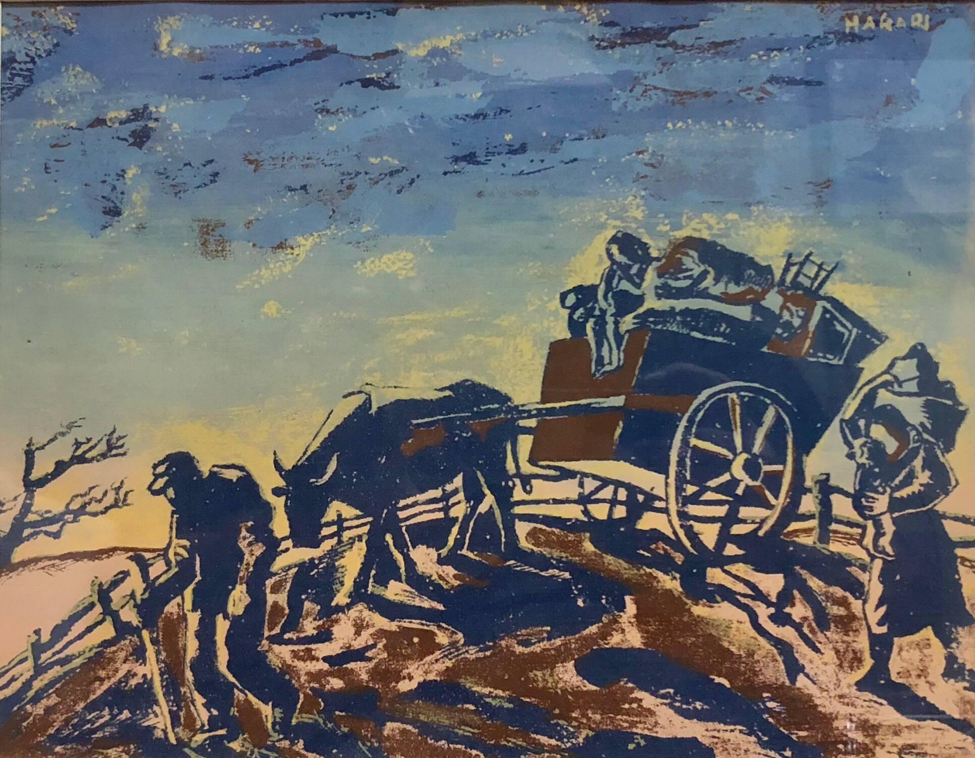 Refugees, World War II, Modernist Judaica Gouache Painting Jewish WPA Artist