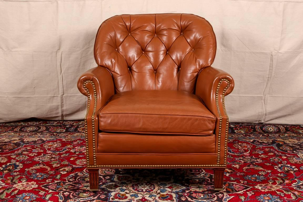 Hancock And Moore Leather Club Chair With Roll Arms, Brass Tack Decoration,  Button Tufted
