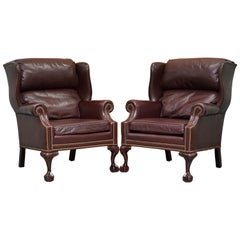 Hancock & Moore Mahogany Brown Leather Wingback Armchairs Claw & Ball Feet Pair