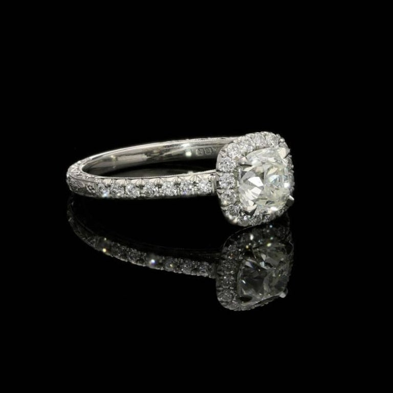 Cushion Cut Hancocks 0.90 Carat Old Mine Brilliant Cut Diamond and Platinum Cluster Ring For Sale