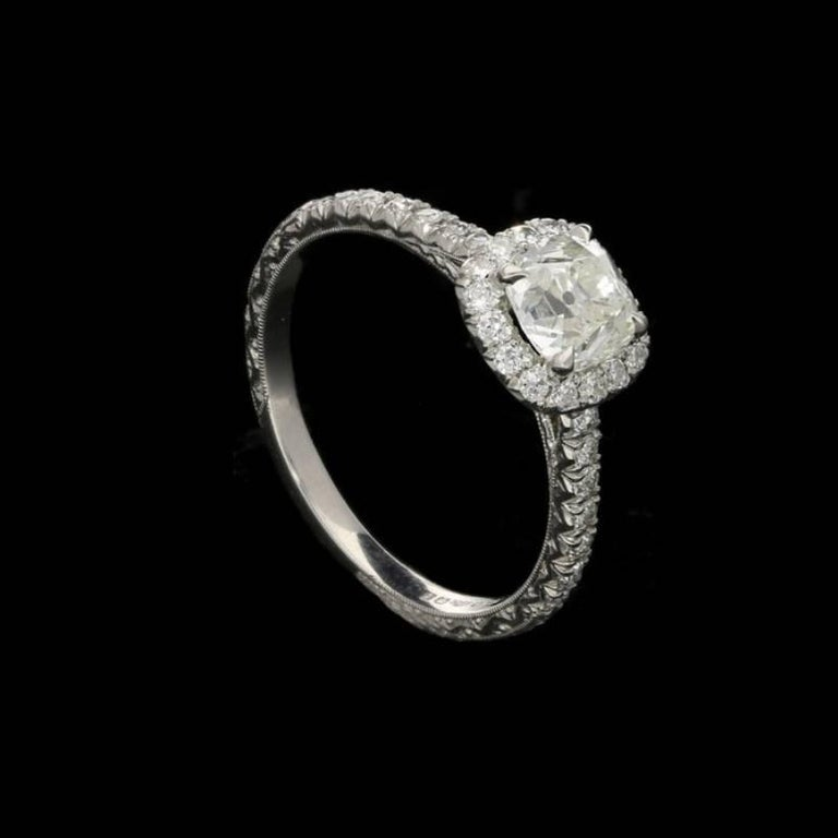 Hancocks 0.90 Carat Old Mine Brilliant Cut Diamond and Platinum Cluster Ring In New Condition For Sale In London, GB