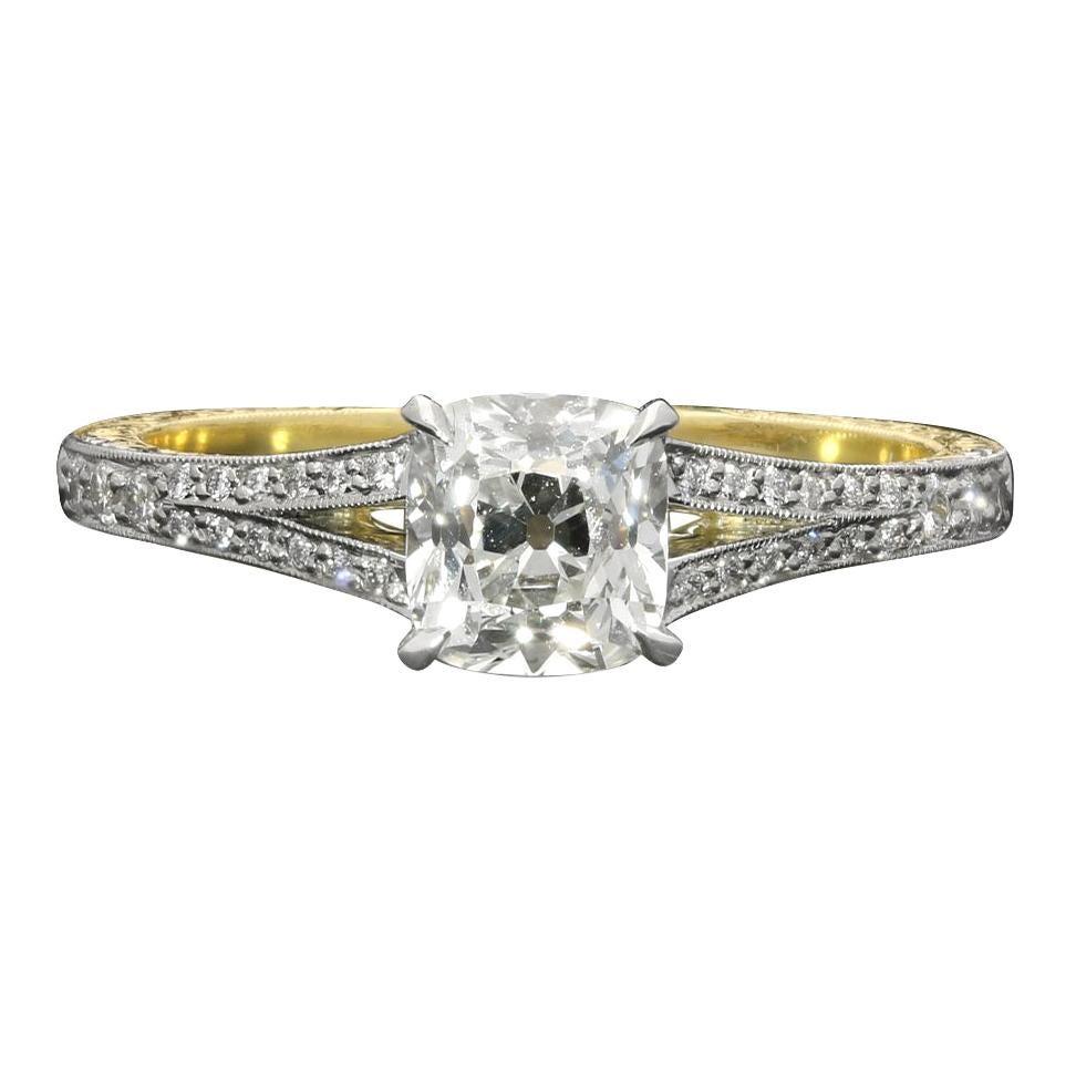 Hancocks 0.95 Carat Old Mine Brilliant Platinum Diamond Ring with Split Shoulder