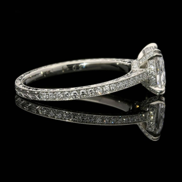 Hancocks 1.02 Carat Cushion Cut Diamond Ring In New Condition For Sale In London, GB