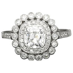 Hancocks 1.04 Carat Cushion Cut Diamond Platinum Double Cluster Engagement Ring