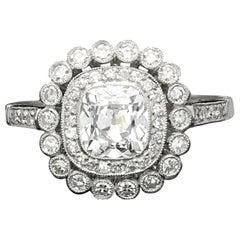 Hancocks 1.04 Carat Cushion Cut Diamond Platinum Double Cluster Engagement Ring