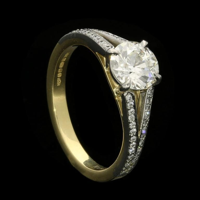 Old European Cut Hancocks 1.05 Carat Old European Brilliant Cut Diamond Ring with Split Shoulders For Sale