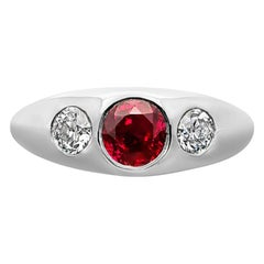 Hancocks 1.09ct Burma Ruby and Old European Cut Diamond Platinum Gypsy-Set Ring