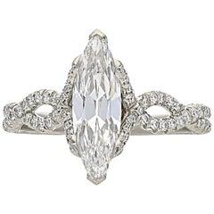 Hancocks 1.15 Carat Marquise Diamond and Platinum Ring