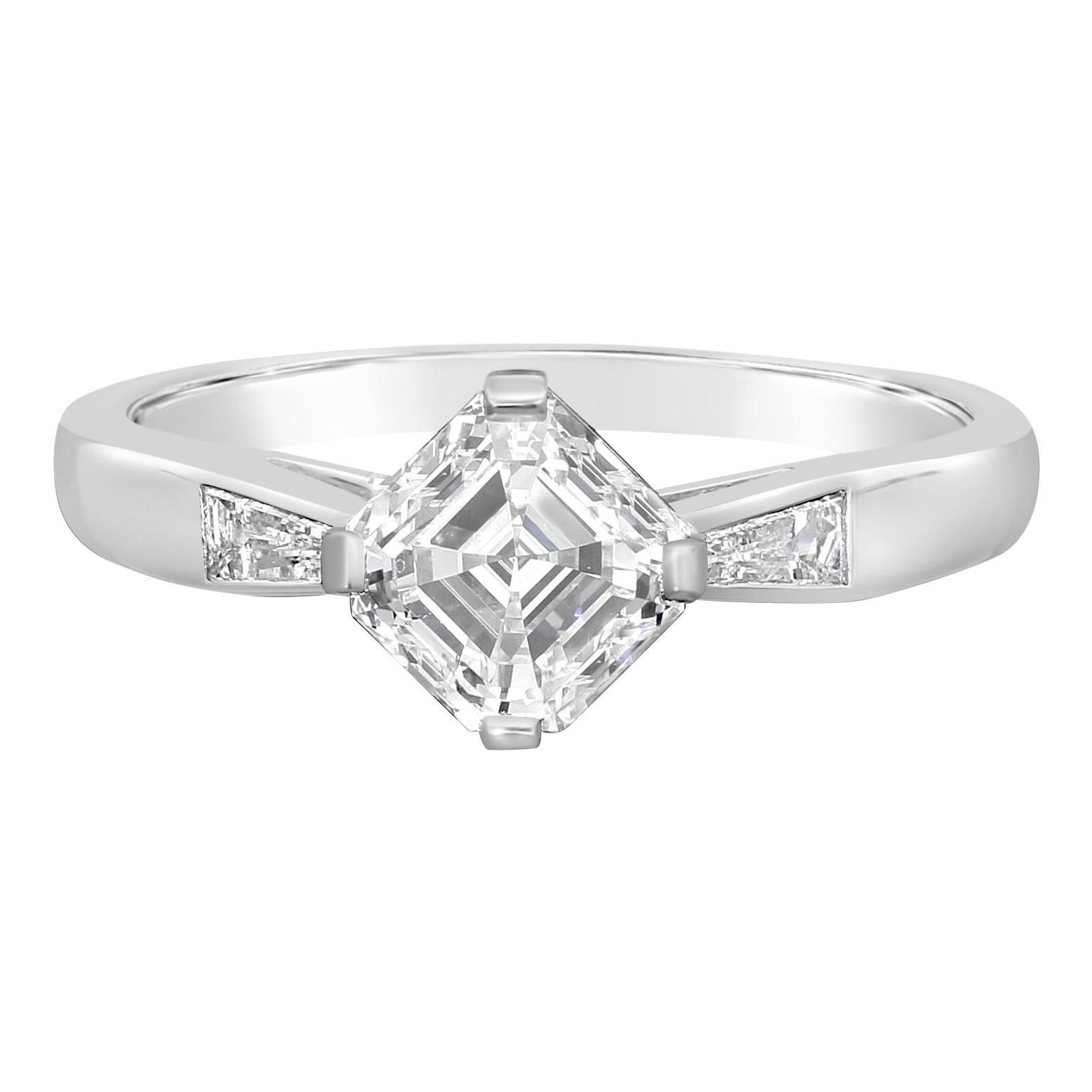 Hancocks 1.21 Carat F VVS2 Vintage Asscher Cut Diamond Platinum Solitaire Ring
