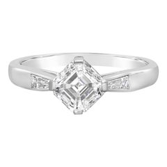 Hancocks 1.21 Carat F VVS2 Vintage Asscher Cut Diamond Platinum Solitaire Ring