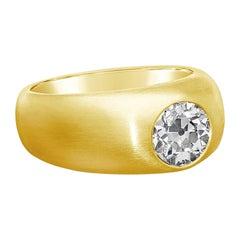 Hancocks 1.65 Carat Old European Diamond in 22 Karat Gold Gypsy-Set Band Ring